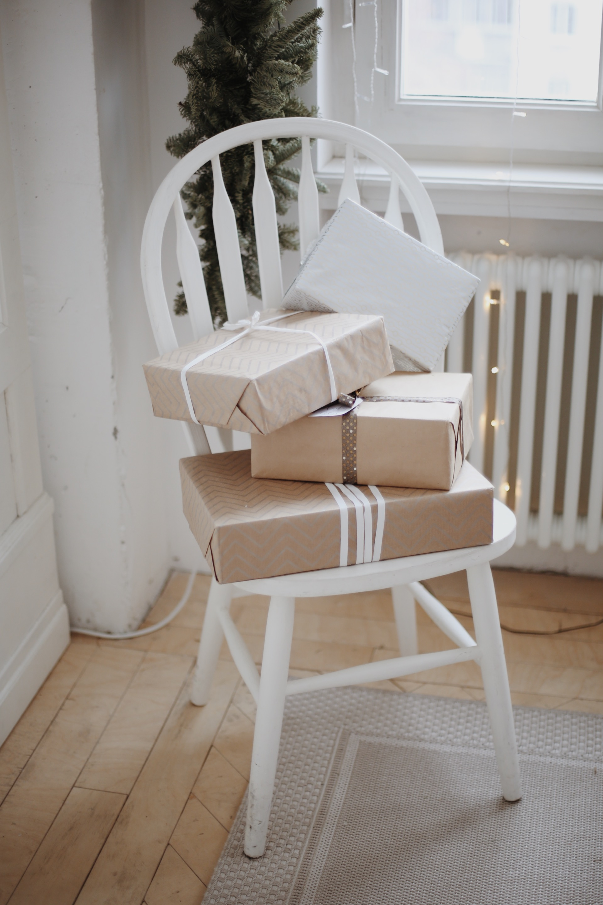 wrapped packages on chair